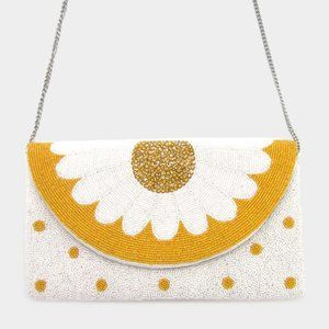 Seed Bead Flower Crossbody Clutch Bag